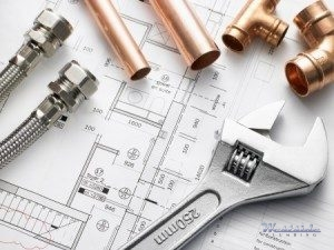 Plumbing Tools and Copper Piping on Floor Plans